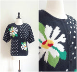 Black and white daisy short sleeve cardigan
