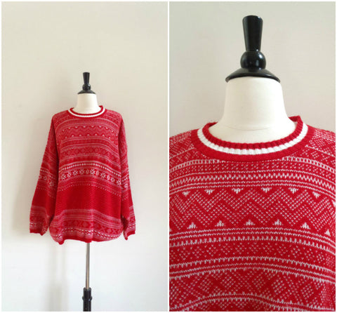 Retro red ski sweater