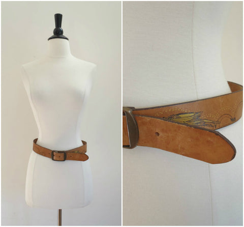 Hand stained cricket leather belt
