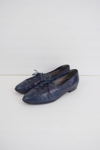 Blue leather laceup oxford shoes