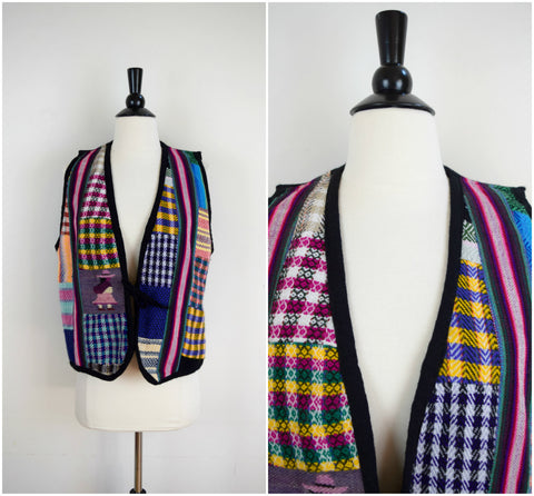 Bohemian woven patterns vest