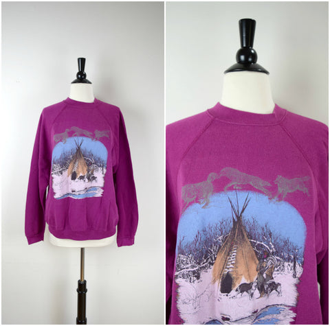 Native American teepee pullover purple sweatshirt