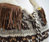 Hand knit southwestern heavy knit sweater with fringe
