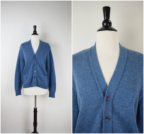 Men's blue wool knit cardigan sweater