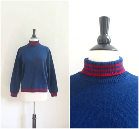 Vintage Saks Fifth Avenue navy blue turtleneck sweater with red stripes / retro Austrian wool sweater