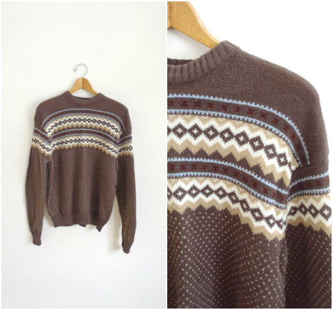 Men's brown retro pattern ski sweater