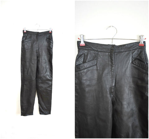 Black leather high waisted motocycle pants