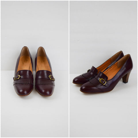 Etienne Aigner mahogany leather fringe shoes