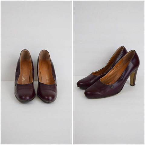 Etienne Aigner mahogany leather pumps