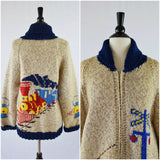 Train pattern zip front cowichan cardigan sweater