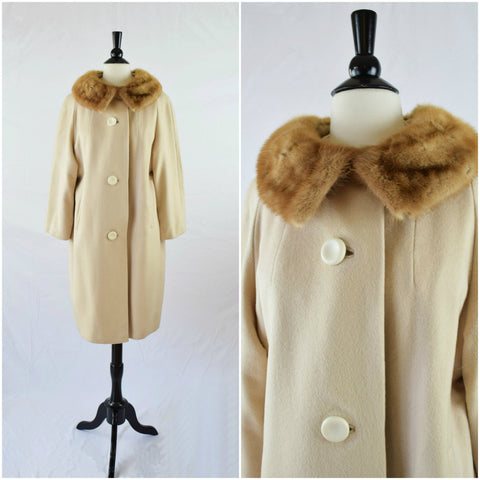 Cream cashmere swing coat with a mink fur collar
