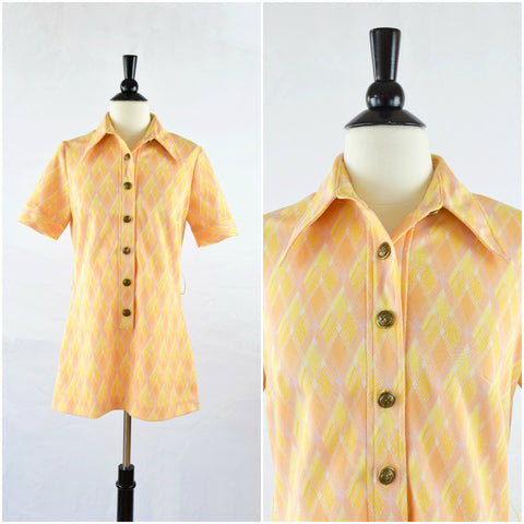 Vintage mod orange plaid long collared top/ button down tunic blouse