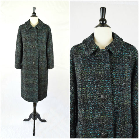 Black and blue boucle tweed mid century swing coat