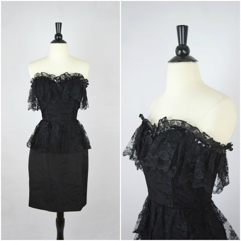 80's black sequins and lace peplum party dress