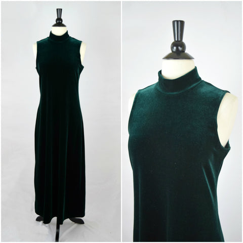 Emerald green velvet long gown