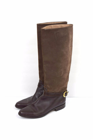 Italian brown leather and suede riding boots with buckle detail