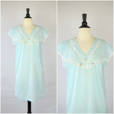 Blue lace nightgown with rosette details