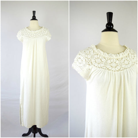 White crochet lace terrycloth nightgown