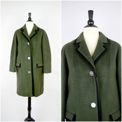 German Loden Coat green wool coat with silver coin buttons