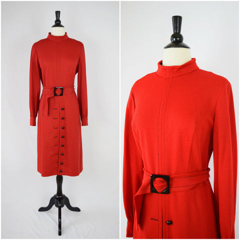Mod red button front dress
