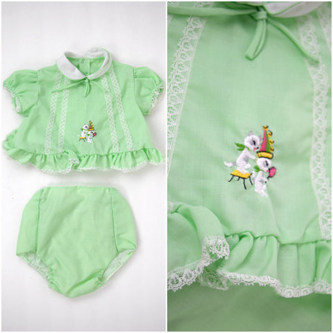 Baby spring green ruffle dress and bloomer set