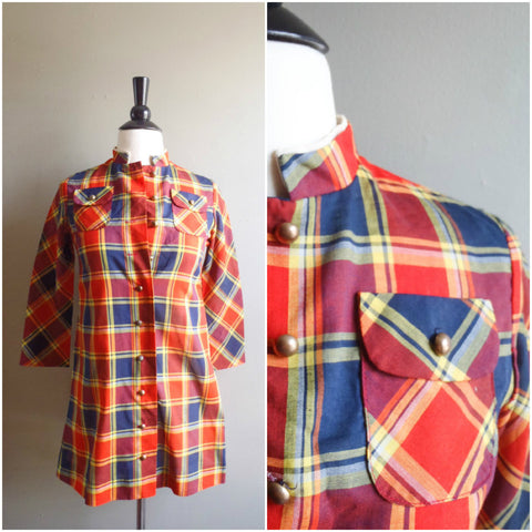 Girls red plaid tunic