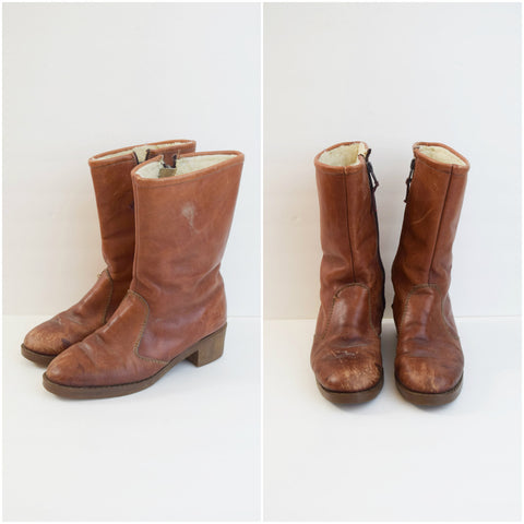 L.L. Bean brown leather boots with wool pile lining