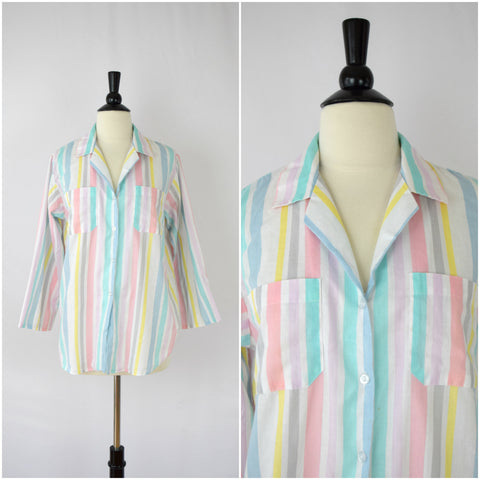 Pastel colors striped button down shirt