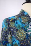 Blue and green bohemian pattern blouse