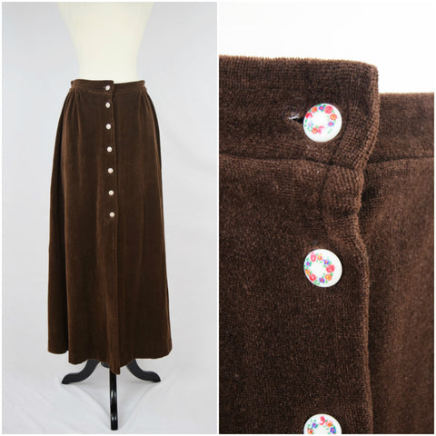 Brown terrycloth maxi skirt with white floral buttons