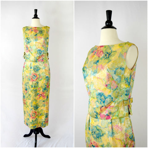 50s two piece watercolor floral and gold brocade gown