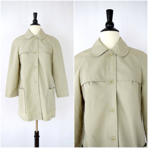 """All weather coat"" trench style button front coat with peter pan collar"