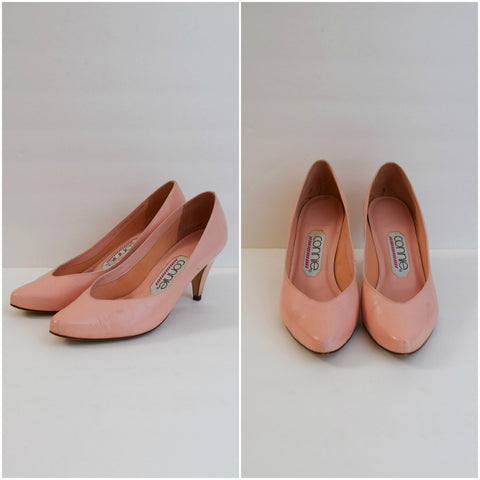 Coral pink leather pumps