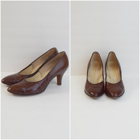 50s Vitality Shoes brown crocodile skin pumps