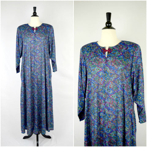 Blue paisley nightgown