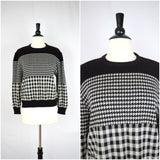 Black and white checkered and gingham sweater