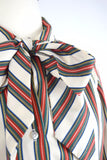 """Royal colors"" vertical stripes tie-neck blouse"