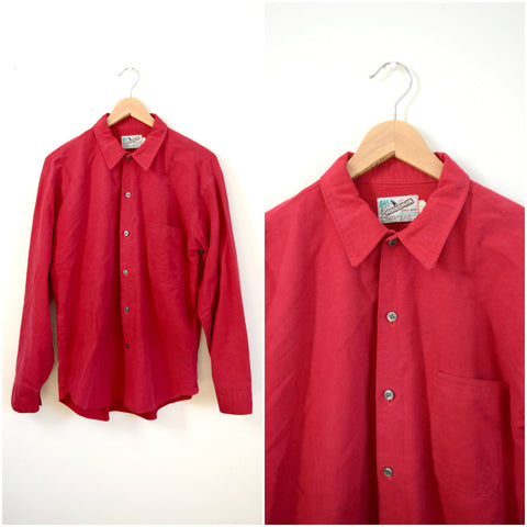 Men's red cotton flannel shirt