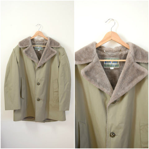 Men's Maine Guide tan plush lined trench coat