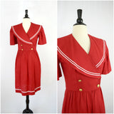 Red Petite Lanz sailor dress