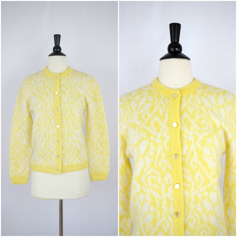 Bobbie Brooks yellow and white angora wool cardigan