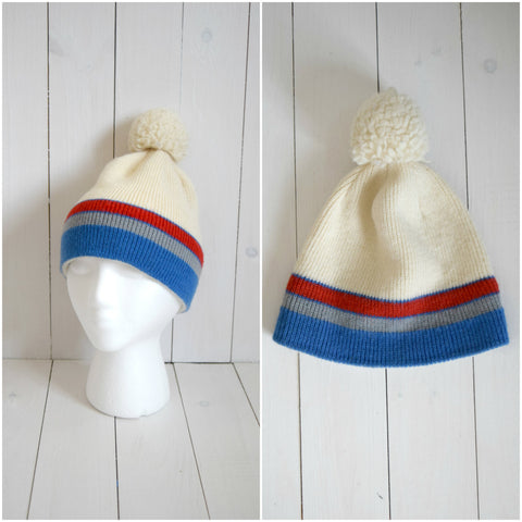 Wool knit retro striped beanie with puff ball top