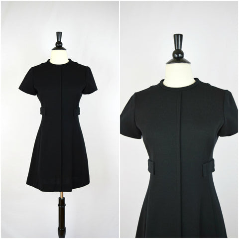 60's mod black wool mini dress with side pockets