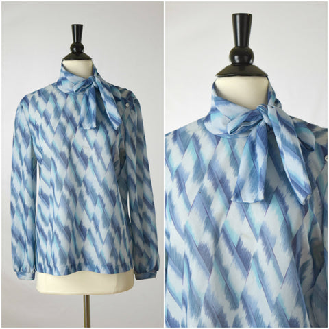Blue and purple watercolor print side bow tie-neck blouse