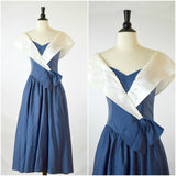 Dance-Allure navy blue and white nautical bow dress