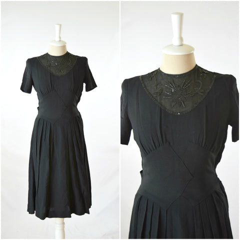 40s black dress with sheer sequined neckline