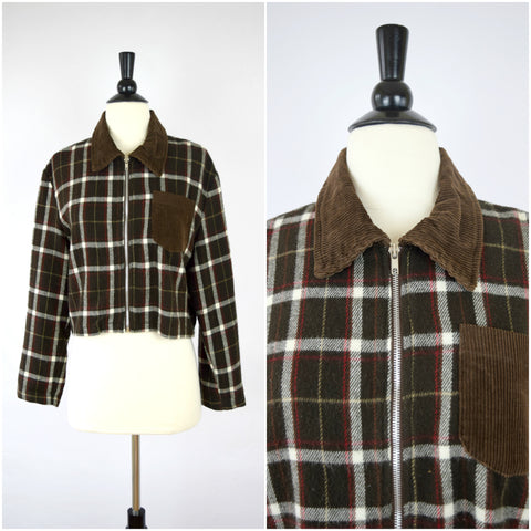 Brown plaid flannel and corduroy cropped jacket