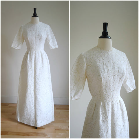 1970s short sleeve lace wedding gown