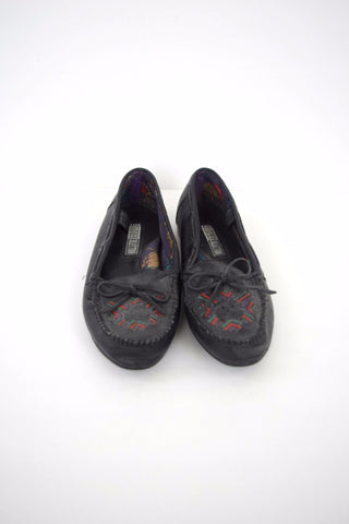 Southwestern black leather moccasins