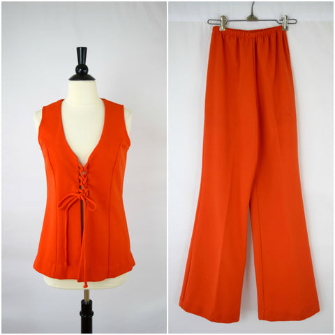 Sunset orange lace-up vest and wide legged bell bottom pants set